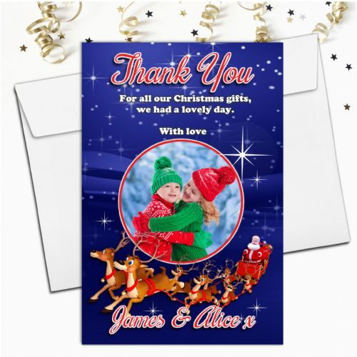 10 Personalised Christmas Xmas Thank you PHOTO Cards N35